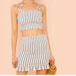 Striped Ruched Two Piece Set